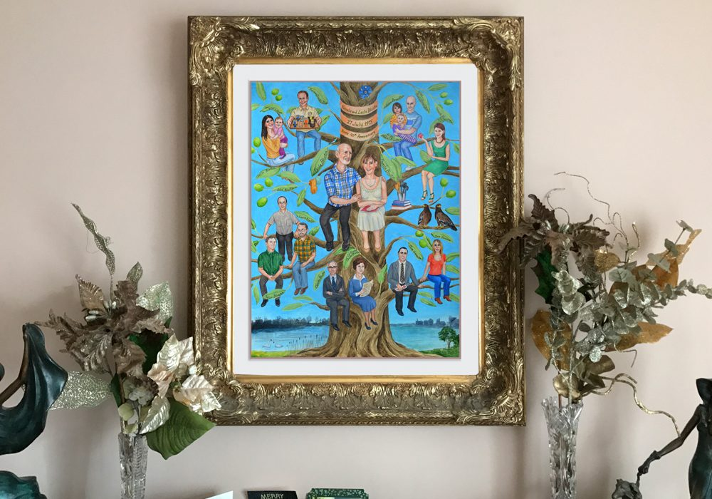 Custom family portrait painting on commission
