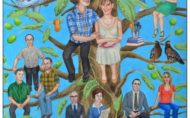 Custom family tree painted for a couple's 40th wedding anniversary.