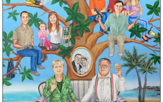 Family tree depicting 3 generations, a couple as they are now and as they were on their wedding day.