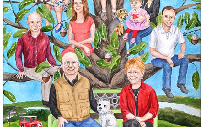 Custom family tree painting featuring 3 generations