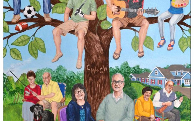Humorous custom family tree painting for a couple's 60th wedding anniversary