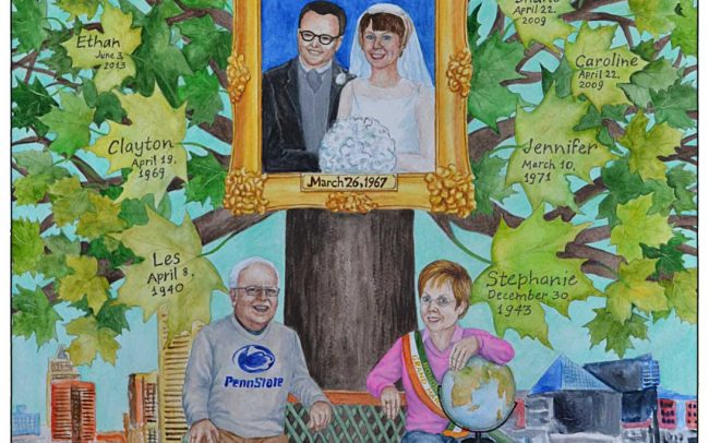Family tree painting in watercolor