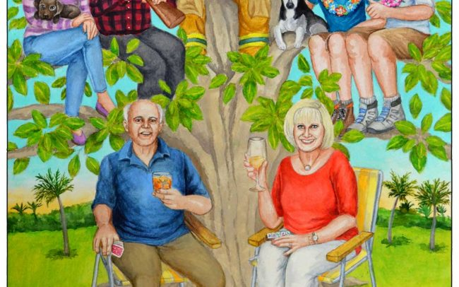 Family tree painting custom made as a gift for a couple's 60th anniversary