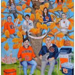 Custom family tree painted for a family of college sports fans.