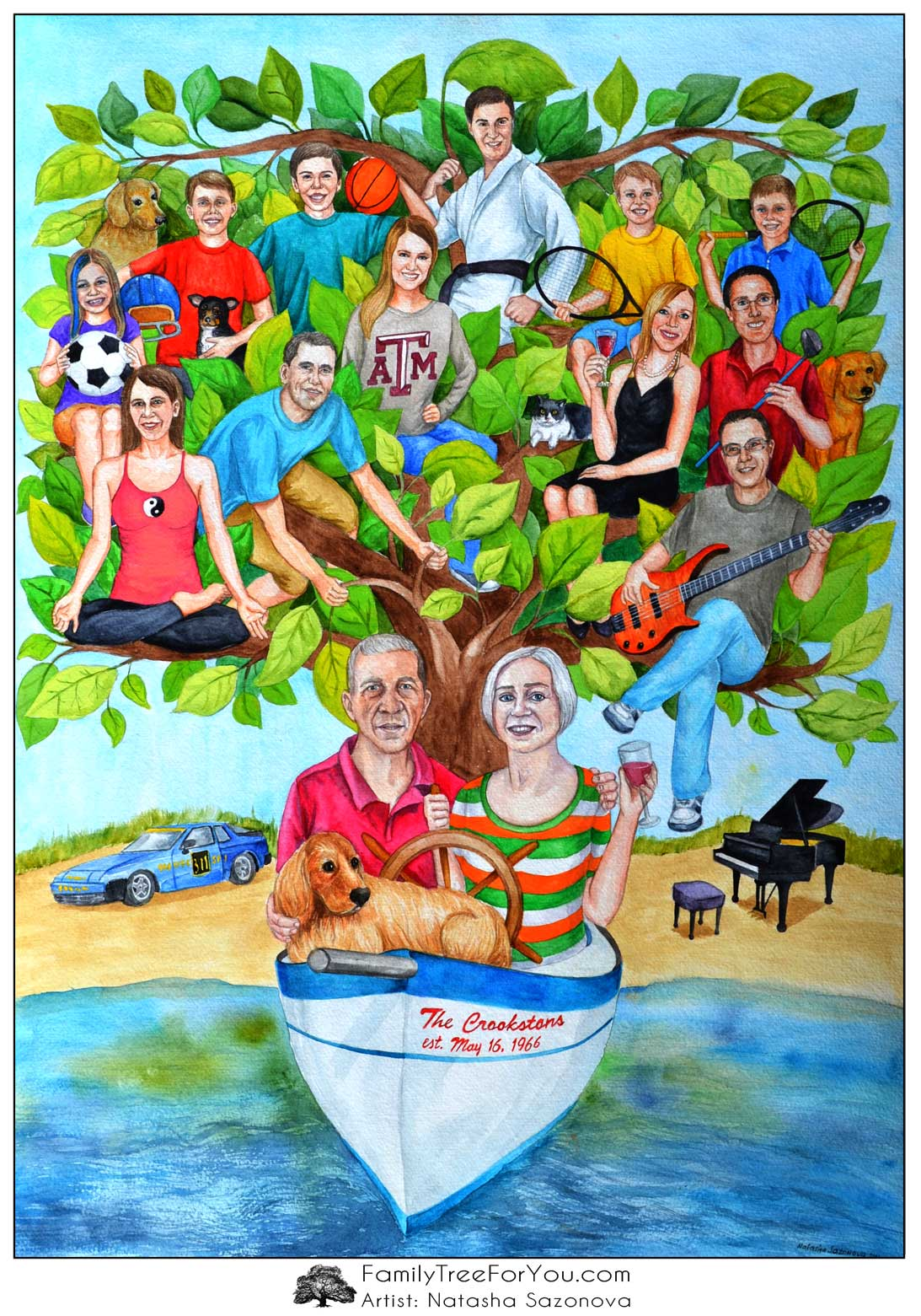 Family tree painting in a shape of a sailboat