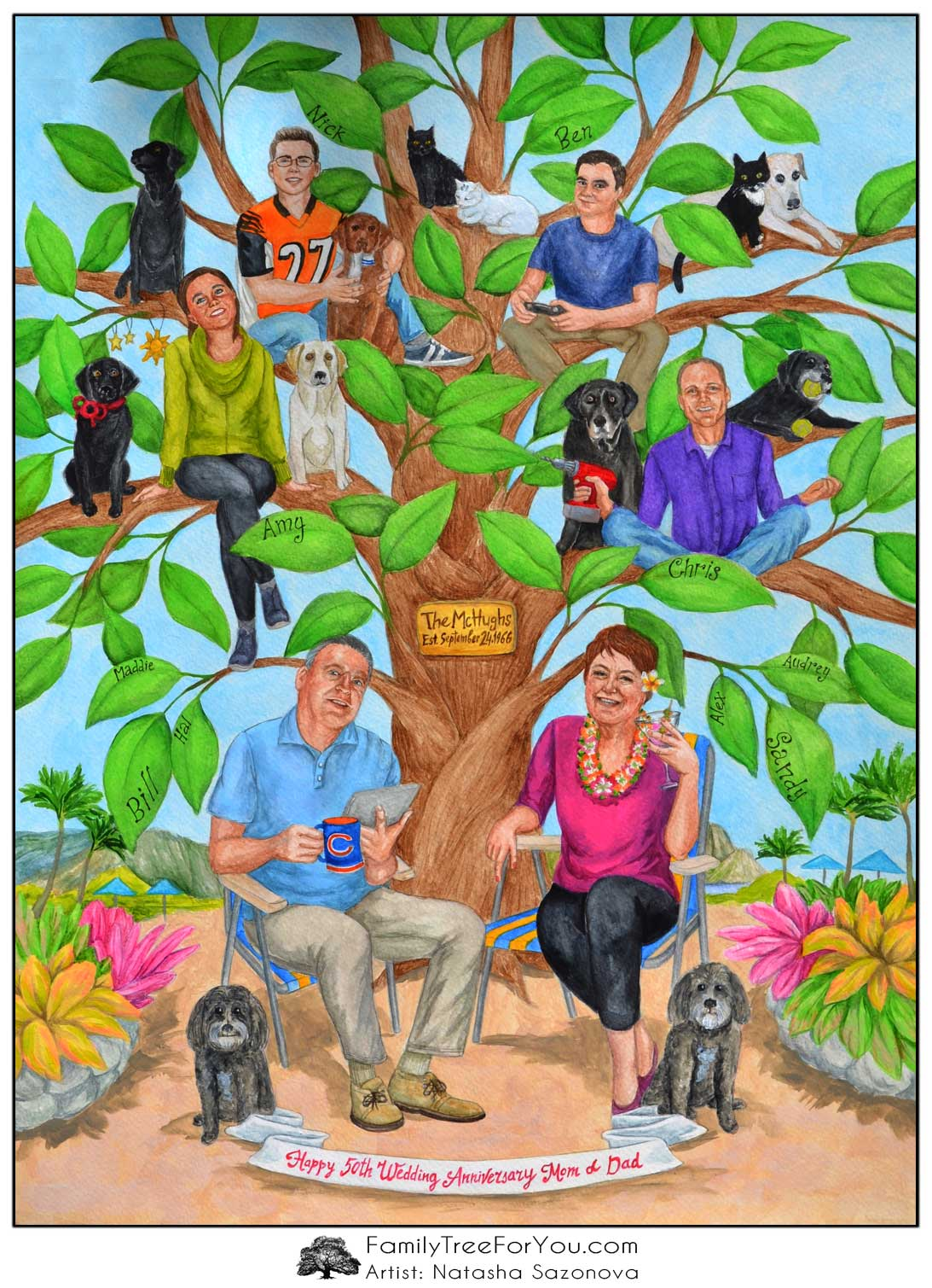 Humous family portrait art in the style of a family tree painting