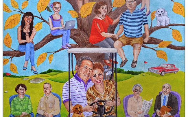 Creative one of a kind family tree painting custom painted for a couple who loves golf