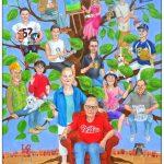 Custom family tree painting depicting 3 generations