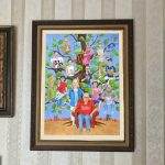 Custom fun family portrait painting in the style of a family tree