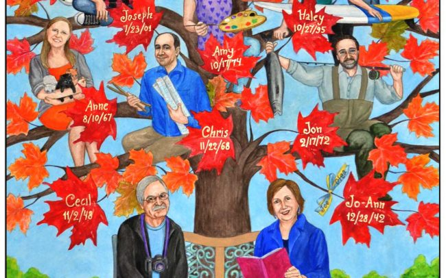 70th birthday gift idea for mom - her own custom painted family tree art