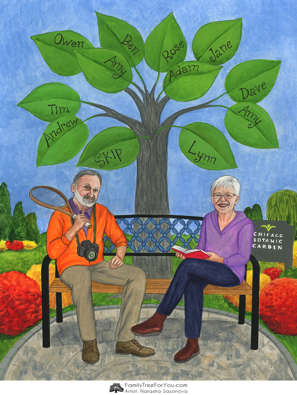 Creative 80th Birthday Gift For Dad His Own Custom Family Tree Painting